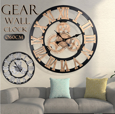 NEW 60CM Outdoor Garden Large Metal Wall Clock Vintage Roman Numeral Gear Rustic