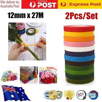 2x Wedding Florist Craft Stem Wrap Floral Paper Tape Waterproof 27Mx12mm 6Color