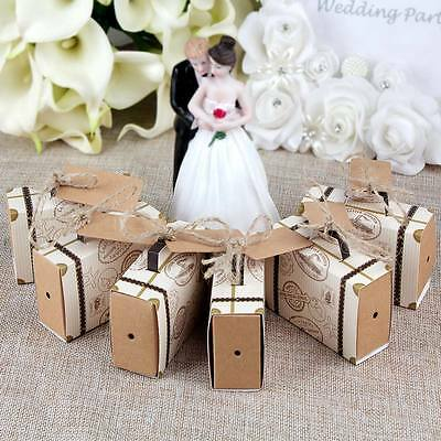 50x Vintage Mini Suitcase Sweet Cake Candy Box Party Wedding Favors Gift Boxes