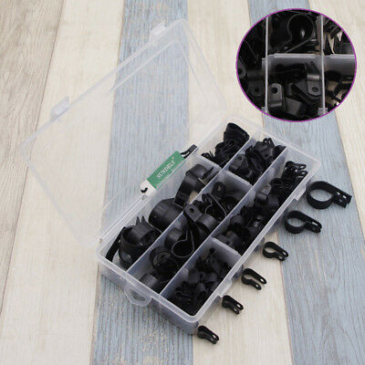 200pcs Nylon Plastic P Clips Fasteners Assorted Box For Wire Cable Conduit Black