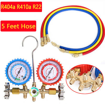 R404a R410a R22 AC A/C Manifold Gauge Set 5FT Colored Hose Air Conditioner BE
