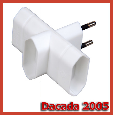 Adaptador Triple Horizontal 10A, Base Multiple Ladron 3 toma fina de enchufe