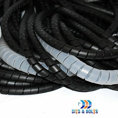 Black & Natural Spiral Cable Wrap/Tidy/Hide/Banding/Loom PC,TV,Home Cinema,Wire