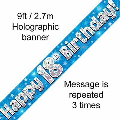 Happy 18th Birthday Party Decor Holographic Foil Celebration Banner Age 18 Blue