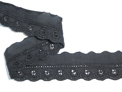 """6 METRES Black Cotton Broderie Anglaise Lace Trim 1""""/2.5cm Sewing Crafts"""