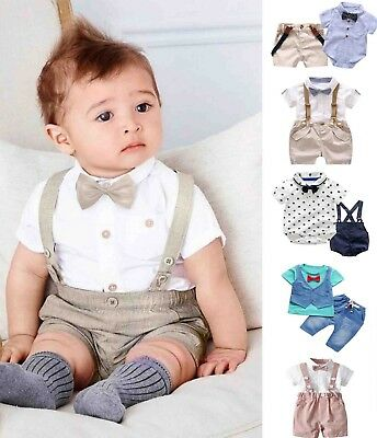 Kids Baby Boys Summer Gentleman Bowtie Short Sleeve Shirt+Suspenders Shorts Suit