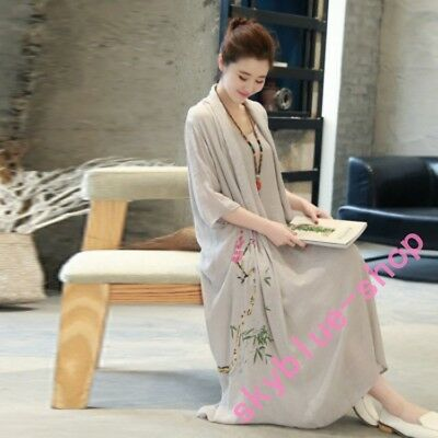 Womens Chinese Style Loose Fit Full Length Dress Floral Embroidery Cotton Linen