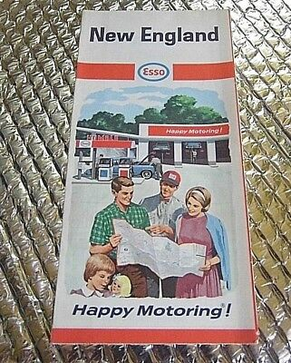 Vintage 1950s Esso New England Road Map