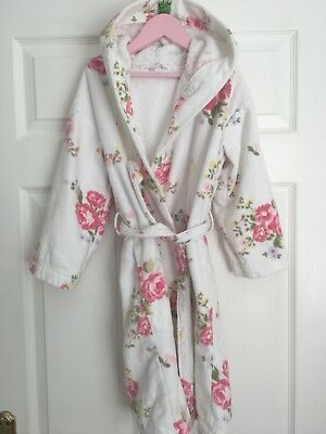 LITTLE WHITE COMPANY Floral Cotton Dressing Gown, Age 7-8 - £2.20 ...