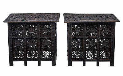 Pair Of Late 19Th Century Anglo Indian Carved Tables