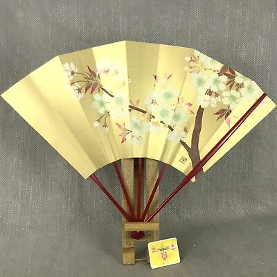 ORIGINAL JAPANESE FAN Vintage 40's40's Printed Paper And Bamboo Best Japanese Fan Display Stand