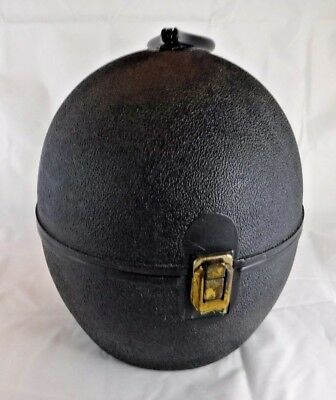Vtg Mod 60s Mid Century Black Hardshell Oval Egg Wig Hat Box Carry Travel Case