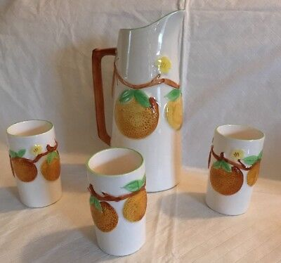 Vintage 1950's Napcoware Ceramic Orange Juice Pitcher & 3 Glasses C-6240 Japan