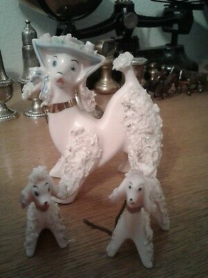 Vintage Pink Spaghetti French Poodle Family of Three Porcelain Figurine