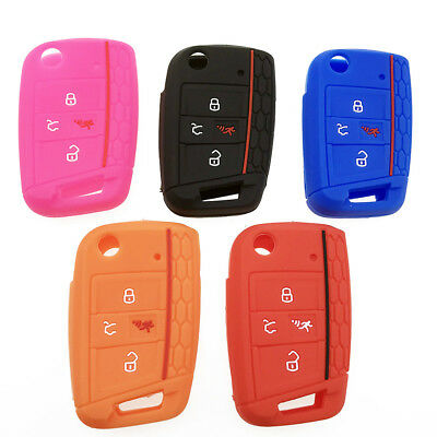Durable 3/4 Buttons Silicone Key Fob Cover Case For VW Polo Golf 7 MK7 Tiguan