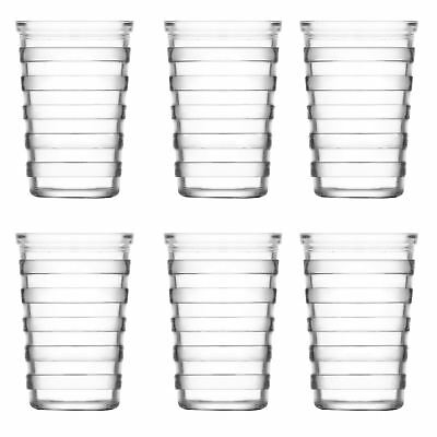 Stripe Glass Water Tumblers - 200ml - 6 Table Glasses for Soft Drinks / Juice