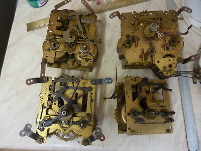 4 Old Mantle--Bracket Clock Movements -- Spares Or Repair