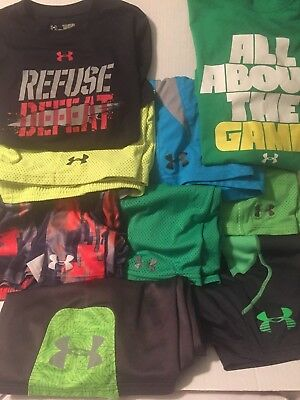 LOT OF 9 YOUTH BOYS UNDER ARMOUR SIZE MED SHORTS and SHIRTS EUC