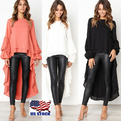 Women's Chiffon Long Sleeve Irregular Tops Ladies Ruffle Party T-Shirt Blouse US