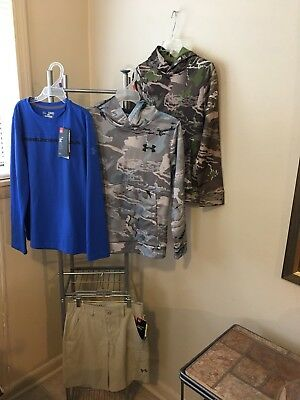 Lot Of 4 Under Armor Clothing Boys Size YMD Pull Over Hoodie & Shorts & Shirt