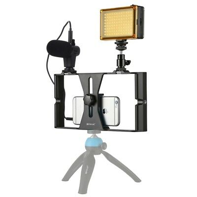 PULUZ Smartphone Video Stabilizer Handle Rig+ Microphone + LED Kits For iPhone