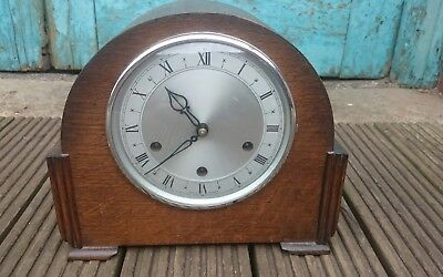 Vintage 'Smiths 8-Day Westminster Chimes Oak Case Mantel Clock GWO