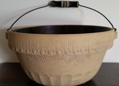 """Vintage, Bohemian, 10"""" Round Stoneware, Mixing Bowl with Wooden Handle"""