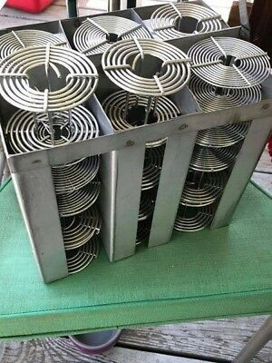 Large lot of stainless developing reels for 35mm and 120mm film, plus rack