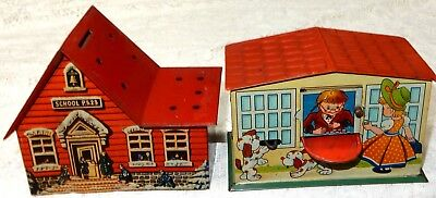 Vintage German US Zone Tin Litho Mechanical Bank & Lolly Pop Bank, Lot of two, 2