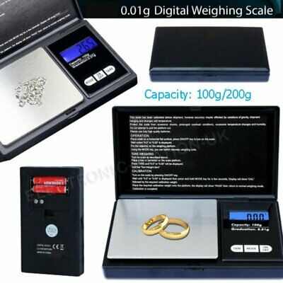0.01g - 100/200g Digital Pocket Weighing Mini Scales For Jewlery Gold Kitchen