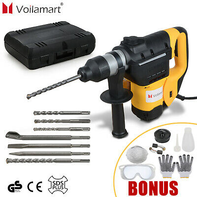 1050W Electric Demolition Rotary Hammer 3 Modes SDS Plus Drill Chuck Chisels Set