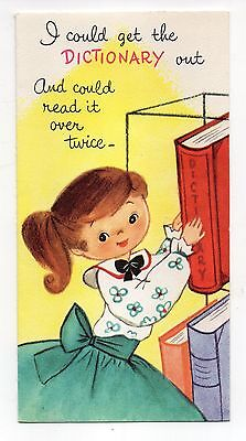 Vintage Gibson Birthday Greeting Card Pretty Girl Dictionary 1950's