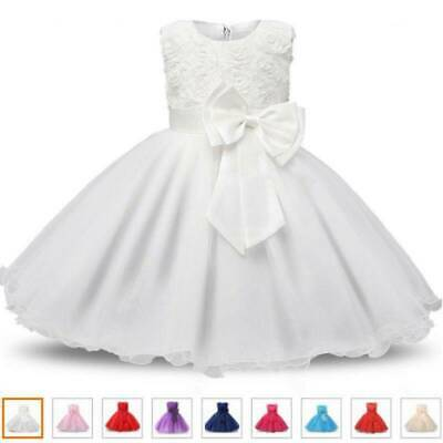 Girl Bridesmaid Dress Baby Flower Kid Party Rose Bow Wedding Dresses Princess UK