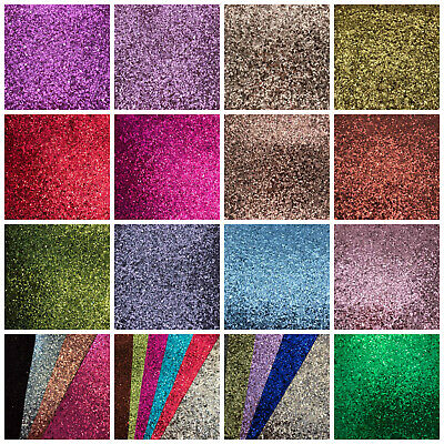 Premium Chunky Glitter Fabric A4  A5 Sheets Faux Leather For Bows & Crafts UK