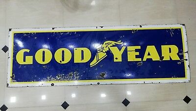 Goodyear sign Vintage Goodyear tire enamel porcelain Goodyear tyre enamel sign
