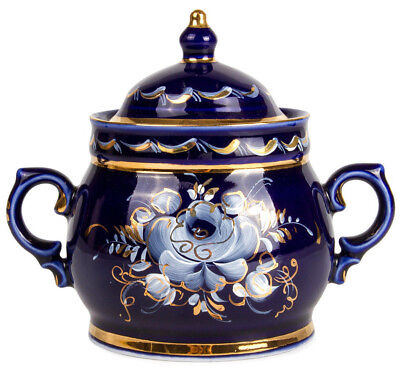 Gzhel Sugar Bowl w/ Floral Pattern. Gold Plated. Authentic Handmade in Russia