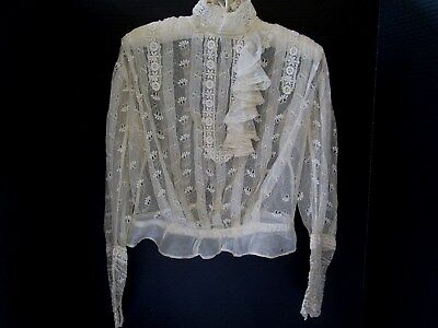 Antique French Net Lace Edwardian High Collar Bodice Blouse Top