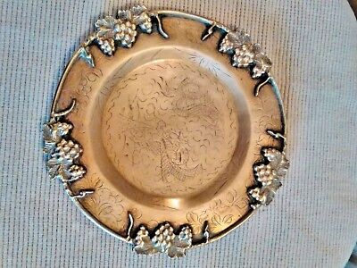 Antique Vintage Heavy Solid Brass  Fruit Dish  Plate Tray Circa 1900
