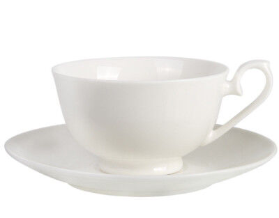 7 fl oz White Bone China Tea Cup Saucer Gzhel Porcelain Teacup Thin Lightweight