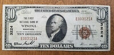 1929 $10 First National Bank of Winona, Minnesota National Currency Note Bill