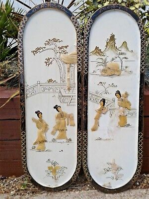 Pair Antique Vintage Chinese Wall Panels Wood & Mother Of Pearl