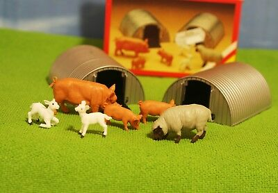 Vintage Britains - 2 Metal Shelters W/ Animals In Box. Inc Pigs & Sheep #4703