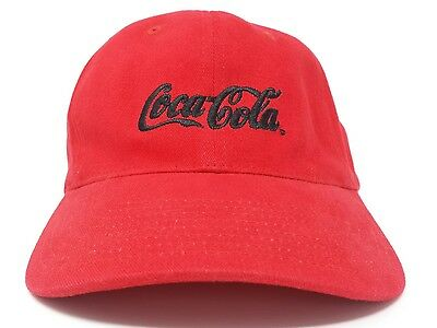 Vintage Red Embroidered Coca-Cola Ball Cap Hat w Brass Lever for Size  Adjustment.
