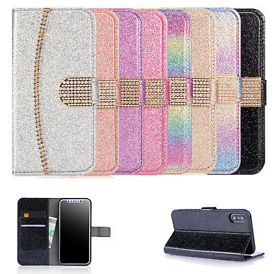 Phone Glitter Leather Flip Card Wallet Case Cover For Apple iPhone X 8 7 6 5