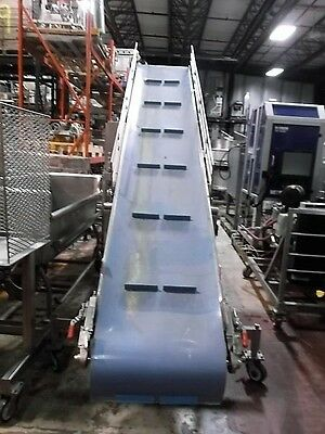"""24"""" x 162"""" Incline Cleated Stainless Steel Sanitary Blue Belt Conveyor"""