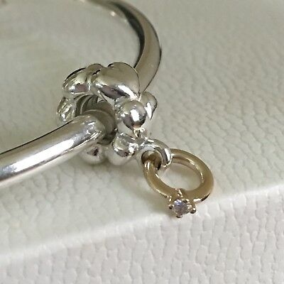 "6ea4957e7 PANDORA Silver and 14k Gold ""I DO"" Engagement Ring Diamond Charm 790999D"
