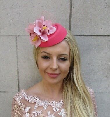 Coral Blush Nude Pink Orchid Flower Pillbox Hat Hair Fascinator Clip Races 6031