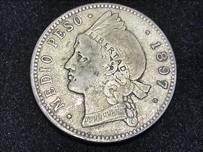 T2:Dominican Republic 1897 1/2 Peso Silver Coin. Free Shipping in U.S.