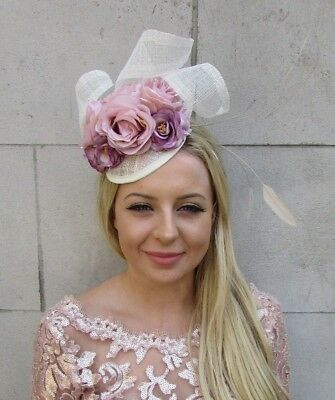 Cream Lilac Purple Nude Blush Pink Rose Flower Feather Hat Fascinator Hair 6035