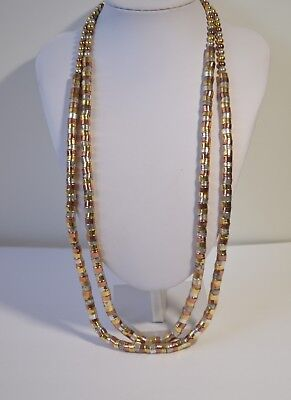 Vintage Gold Silver Copper Double Multi Strand Chain Link Chunky Necklace